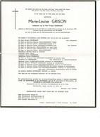 Marie-Louise GRISON 1903 1979 Ee/v Prosper HOORNAERT  Sint-Laureins - Obituary Notices