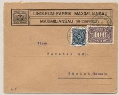 Deutsches Reich - 1923 - 100 M + 50M On Commercial Cover From Maximiliansau To Zürich / Schweiz - Duitsland