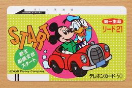Japon Japan Free Front Bar Balken Phonecard (F) - / 110-7687 / Disney Mickey And Donald - Comics
