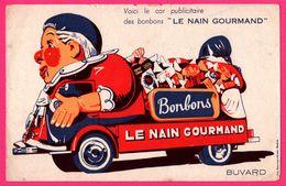 BUVARD - Le Nain Gourmand - Bonbon - Car - Camion Publicitaire - Clown - DELANNOY & NEVESSE - Automobile