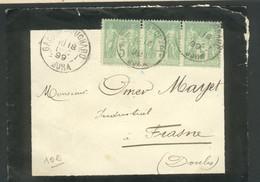 Type Sage 5c Vert N S U  3 TP Se Tenant  Oblitérés Gare De Mouchard  Pour Frasne - Marcophilie (Lettres)