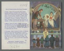ES5178 SS. Sacramento COMUNIONE SACRA FAMIGLIA GIUSEPPE FALEGNAME APRIBILE BARRE USA MASS. Santino - Religione & Esoterismo