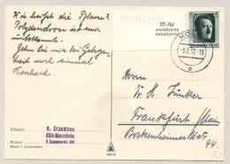 Deutsches Reich - 1937 - 6 Pf Hitler From Block Kulturspende On Postcar From Köln To Frankfurt - Duitsland