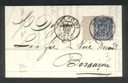 LAC De Belfort-Ville Pour Besançon 15c Sage 1889 - Marcophilie (Lettres)