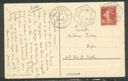 Timbre à Date Type C2 Les Fourgs (Doubs) Sur Semeuse 10 C Rouge - Marcophilie (Lettres)