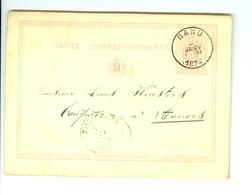 Carte Correspondance AS CàD Gand & Anvers 1874  Entier Postal Postwaardestuk Gent Verstraete à Louis Keusters Anvers - Ganzsachen