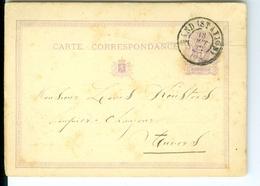 Carte Correspondance AS CàD Gand Station  1874  Entier Postal Postwaardestuk Gent Verstraete à L Keusters Anvers - Ganzsachen