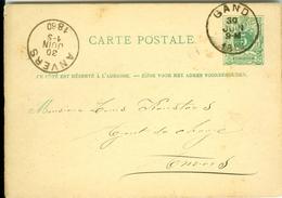 Carte Correspondance AS CàD Gand & Anvers1880  Entier Postal Postwaardestuk Gent Verstraete à L Keusters Anvers - Ganzsachen