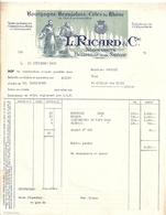 L. RICARD & CIE  1951 Bourgogne Beaujolais CÖtes Du Rhone  FACTURE - France