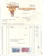 BITTER AMERICAIN   M. GRANIER   CAVAILLON  1950   FACTURE - France