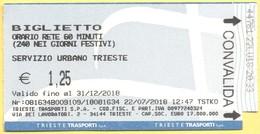 TRIESTE Trasporti - Autobus - Biglietto Servizio Urbano 60 Minuti - Bus