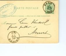 Carte Correspondance AS CàD Gand & Anvers1880 Entier Postal Postwaardestuk Gent Polydore Ghys  Keusters Anvers - Entiers Postaux