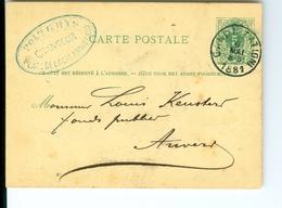 Carte Correspondance AS CàD Gand & Anvers1881 Entier Postal Postwaardestuk Gent Polydore Ghys  Keusters Anvers - Ganzsachen