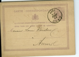 Carte Correspondance AS CàD Gand & Anvers1877 Entier Postal Postwaardestuk Gent Polydore Ghys  Keusters Anvers - Ganzsachen