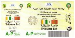 Billet. Match International Football  CAF. Maroc - Côte D'Ivoire 2012. Tribune Est. Gratuit.. - Soccer