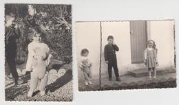 TUNISIE / BEJA / 1961 , 2 Photos De Petits Enfants , Gros Ours En Peluche - Places