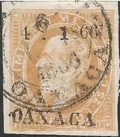 J) 1866 MEXICO, EMPEROR MAXIMILIAN, CIRCULAR CANCELLATION, 25 CENTS, ENGRAVED OAXACA, XF - Mexico
