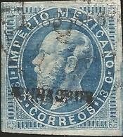 J) 1866 MEXICO, EMPEROR MAXIMILIAN, 13 CENTS, ENGRAVED VERACRUZ, SCN 32, XF - Mexico