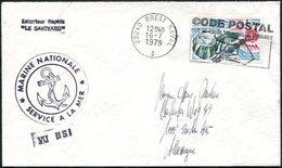 France 1979 Marine Post Escorteur Rapide LE SAVOYARD Slogan Pmk 29240 BREST NAVAL Maritime Mail Cover Fr. Europa-CEPT - Postmark Collection (Covers)