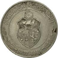 Monnaie, Tunisie, Dinar, 1997/AH1418, Paris, TB+, Copper-nickel, KM:347 - Tunisia