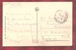 19th NOVEMBER 1918 FIELD POST OFFICE STAMP & PASSED BY CENSOR No.7020? STAMP ON MONS PANORAMA POSTAL HISTORY POSTMARK Mi - Mons
