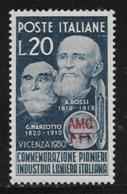 Trieste Zone A, Scott # 84 MNH Italy #543 Overprinted, 1950 - 7. Trieste