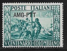 Trieste Zone A, Scott # 119 MNH Italy #578 Overprinted, 1951 - 7. Trieste