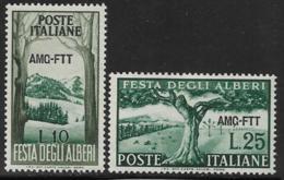 Trieste Zone A, Scott # 136-7 Mint Hinged Italy #592-3 Overprinted, 1951 - 7. Trieste