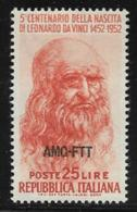 Trieste Zone A, Scott # 145 MNH Italy #601 Overprinted, 1952 - 7. Triest