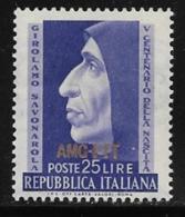 Trieste Zone A, Scott # 153 MNH Italy #609 Overprinted, 1952 - 7. Trieste