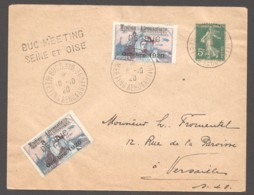 1920  BUC  Meeting Aérien  2 Vignettee Guynemer Surchargées - Marcophilie (Lettres)