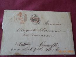 Lettre De 1849 En Provenance De Lyon A Destination De Les Abrets (cachet De Depart En Rouge) - Postmark Collection (Covers)