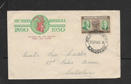 S. Rhodesia, First Day Cover, Occupation Day, 1890 - 1950, BULAWAYO STATION S. RHODESIA  12 SP 50 > Salisbury - Southern Rhodesia (...-1964)