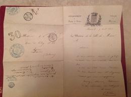 Lettre Signée Du Maire De Macon 1856 Paris à Lyon 2 ° - Marcophilie (Lettres)