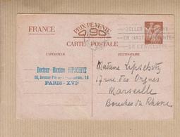 """Omec FLIER  De PARIS XVI  Le 9 IV 1941  """" COLLER LE TIMBRE..."""" Sur Entier CP De Corresp Entre  Zones Libre Et Occupee """" - Poststempel (Briefe)"""