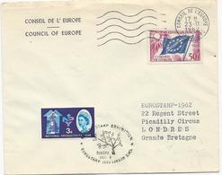 LETTRE 1962 AVEC TIMBRE A 50 FR CONSEIL DE L'EUROPE ET 4 TIMBRES ANGLAIS - Dienstpost