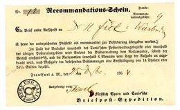 """""""RECOMMANDATIONS-SCHEIN"""" Nachverwendet Zur NDP Zeit Für 1 Sendung Nach Wiesbaden - Norddeutscher Postbezirk"""
