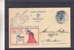 Belgique - Carte Postale De 1934 - Entiers Postaux - Oblit Lokeren - Exp Vers Roulers - Pub Chocolat Côte D'Or - Textile - Belgique