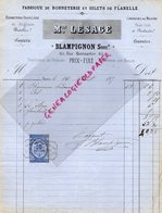 75- PARIS- RARE FACTURE MAISON LESAGE- BLAMPIGNON- FABRIQUE BONNETERIE GILETS FLANELLE-65 RUE MONTMARTRE-1870 - France