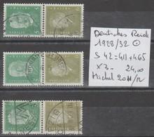 TIMBRES D ALLEMAGNE COMPOSEES OBLITEREES  1928/32 Nr S 42=411+465 X 3   COTE 24 € - Oblitérés
