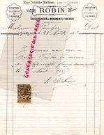 94- GENTILLY- RARE FACTURE ROBIN- RUE SAINTE HELENE- SCULPTURE MARBRERIE GRAVURE-MONUMENTS FUNEBRES-1887 - France