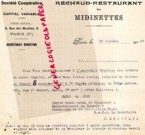 75- PARIS- RARE LETTRE RECHAUD RESTAURANT DES MIDINETTES- SOCIETE COOPERATIVE A CAPITAL VARIABLE-8 RUE DES MOULINS-1919 - Artesanos