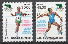 Somalia 1987 Mi# 398-99** WORLD OLYMPIC PHILATELIC EXHIBITION OLYMPHILEX '87 - Somalie (1960-...)