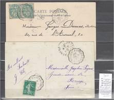Lettres  Cachet  Convoyeur Rives Sur Fure à Saint Rambert  Et Retour   - Indice 9 Et 6 - Isére - Poststempel (Briefe)