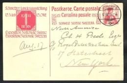 SCHWEIZ / SWITSERLAND Postal Stationery /Postkarte Mi P 72 Sent 1913 From INTERLAKEN1 To USA - Postwaardestukken