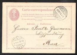 SCHWEIZ / SWITSERLAND Postal Stationery /Postkarte Mi P 3 II Sent 1874 From CHAUXDEFONDS - Postwaardestukken