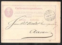 SCHWEIZ / SWITSERLAND Postal Stationery /Postkarte Mi P 3 I Sent 1873 From AARAU - Postwaardestukken