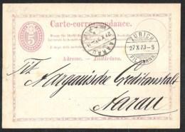 SCHWEIZ / SWITSERLAND Postal Stationery /Postkarte Mi P 3 III Sent 1873 From ZURICH - Postwaardestukken