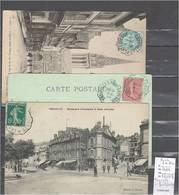 Lettres  Cachet  Convoyeur Trouville à Pont L'Eveque Et Retour -3  Piéces Dont 1 En Bleu - Marcophilie (Lettres)