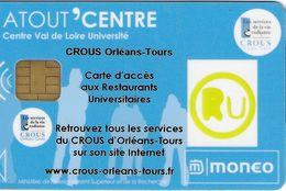 MONEO CARTE A PUCE ATOUT'CENTRE CROUS ORLÉANS TOURS TRACES D'USAGE POUR COLLECTIONNEUR - France